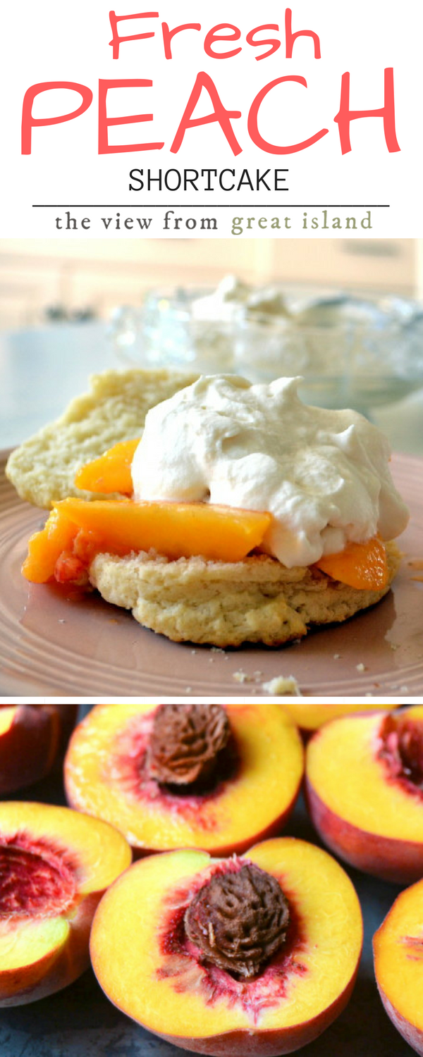 Fresh Peach Shortcake ~ fluffy buttermilk biscuits topped with ripe juicy peaches and homemade whipped cream ~ definitely one of the best things I've ever eaten! | dessert | summer dessert |