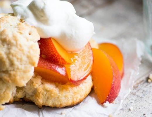 Fresh peach shortcake with whipped cream