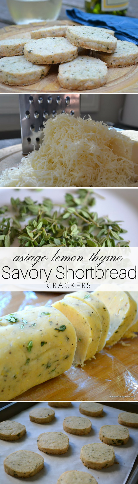 Asiago Lemon Thyme Shortbread is a buttery, savory shortbread cracker perfect for the cocktail hour! Add them to cheese platters for a luxury touch. #appetizer #shortbread #homemadecrackers #winecrackers #asiago