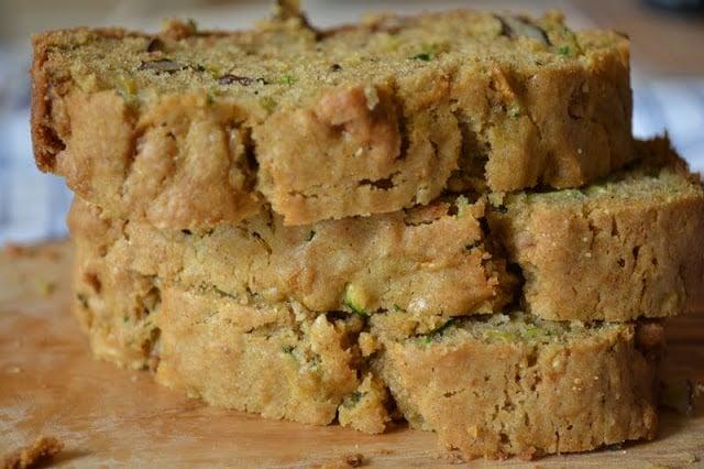 A stack of classic zucchini bread slices
