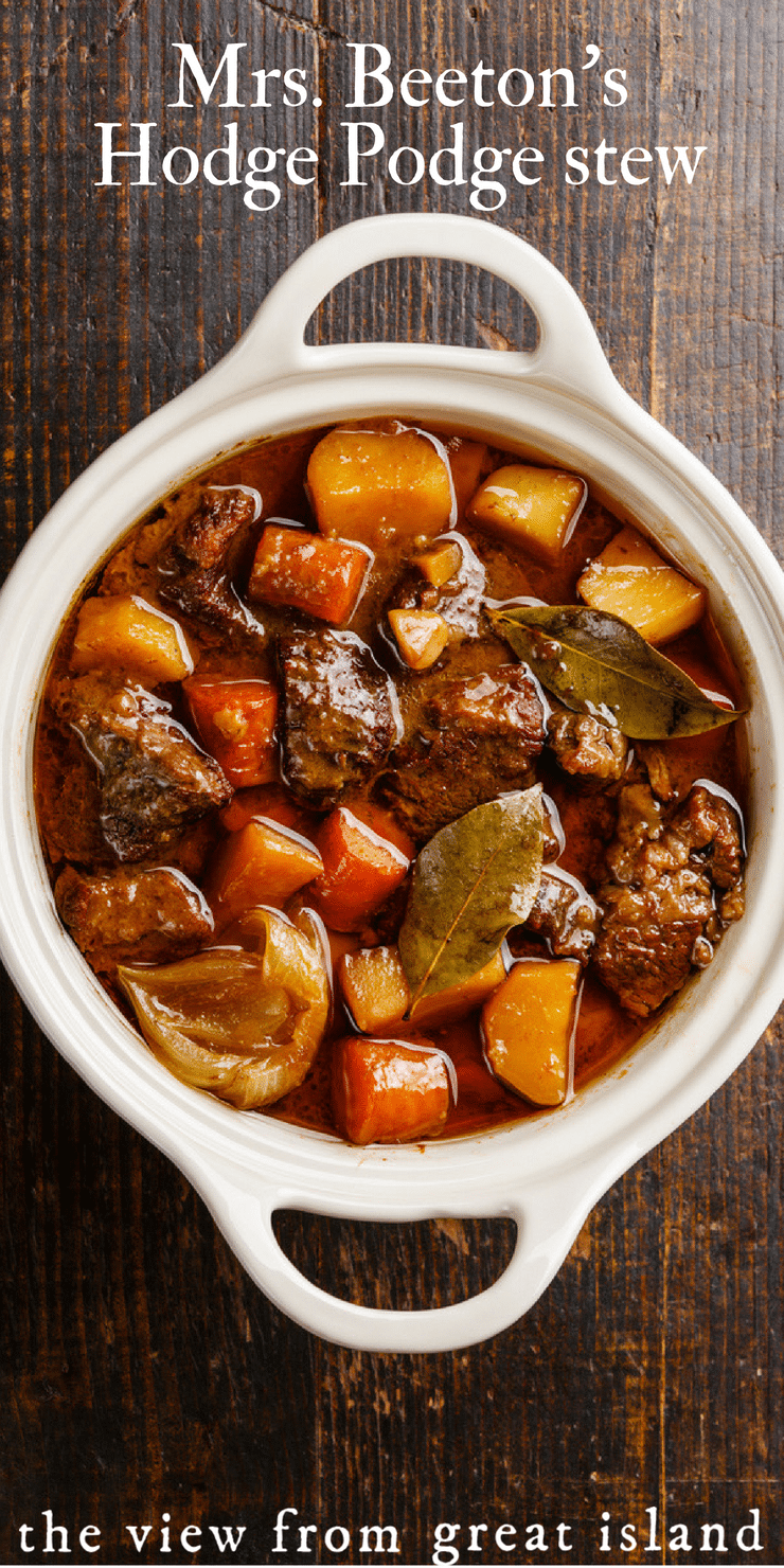 Mrs. Beeton's Hodge Podge Stew ~ This classic beef stew recipe is from her Book of Household Management, 1861! #beef #stew #victorian #British #dinner #comfortfood