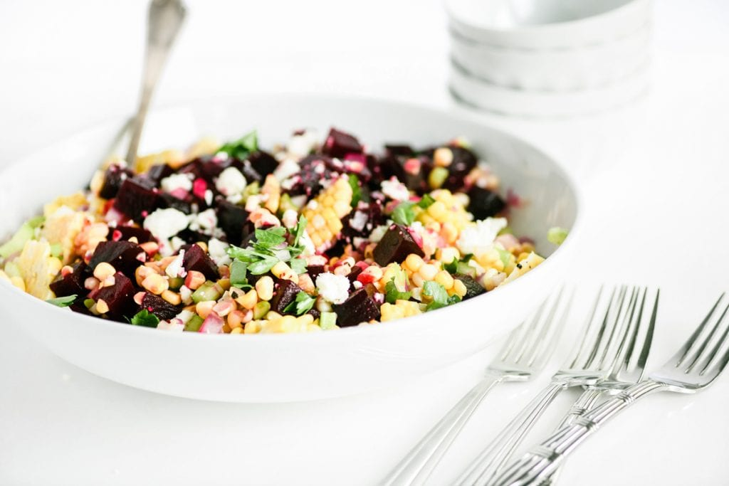 summer beet salad in a serving bowl