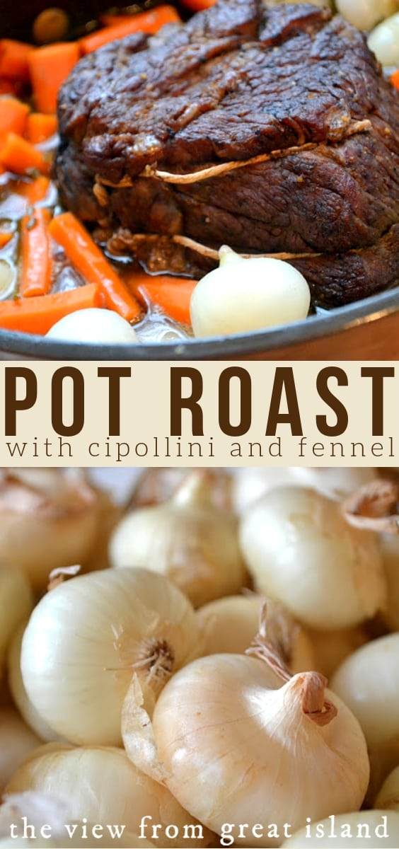 Pot Roast with Cipollini and Fennel ~ a fragrant fall and winter family meal that cooks low and slow in the oven and fills the house with wonderful aroma! #potroast #dinner #recipe #onions #beef #easy #chuckroast #comfortfood #fall #winter #cipollini