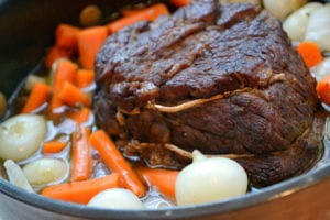 Pot Roast with Cipollini Onions in a cast iron pot