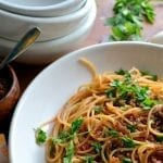 Pasta with Sun Dried Tomato and Almond Pesto
