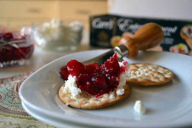 hot pepper cranberry jam on a cracker