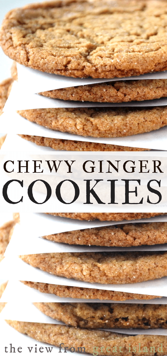 Chewy Ginger Cookies are the ultimate fall and holiday cookie, full of warm spices and molasses, they're crisp on the outside and nice and chewy inside. #cookies #holidaycookies #Christmascookies #gingercookies #dropcookies #easycookies #fallcookies #falldessert #holidaydessert #cookieexchange #gingerbread #recipe #molasses #spice #gingersnaps #easy