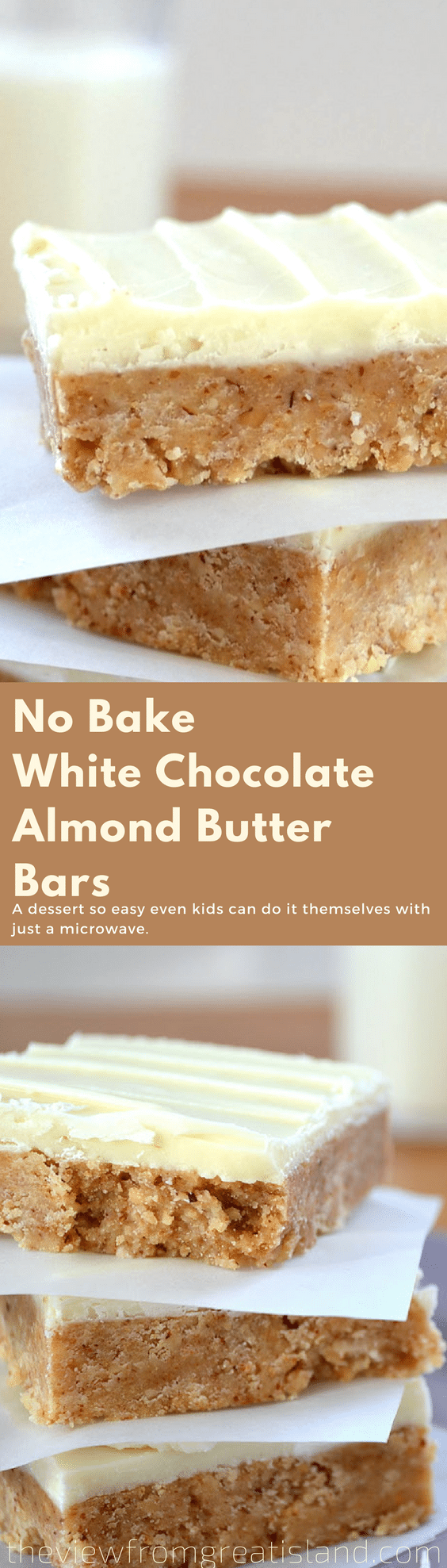 No-Bake White Chocolate Almond Butter Squares ~ a variation on the popular peanut butter and chocolate bars, this easy no bake dessert is a family favorite. #nobake #dessert #recipe #peanutbutterbars #almondbutter #almondbutterbars #whitechocolate #easydessert