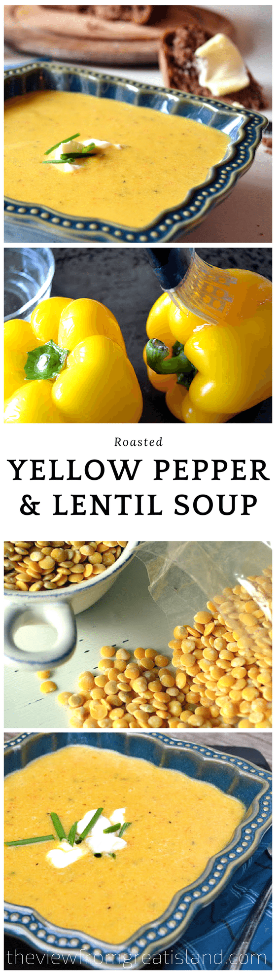Roasted Yellow Pepper and Lentil Soup ~ this light bright soup made with bell peppers and lentils makes a wonderful starter or light meal, just add a crisp salad and a warm loaf of bread! #yellowpeppers #soup #lentils #roastedvegetables #healthysoup #roastedpeppers #lentilsoup #comfortfood #glutenfree #vegetarian #dinner #easydinner #lunch #healthylunch