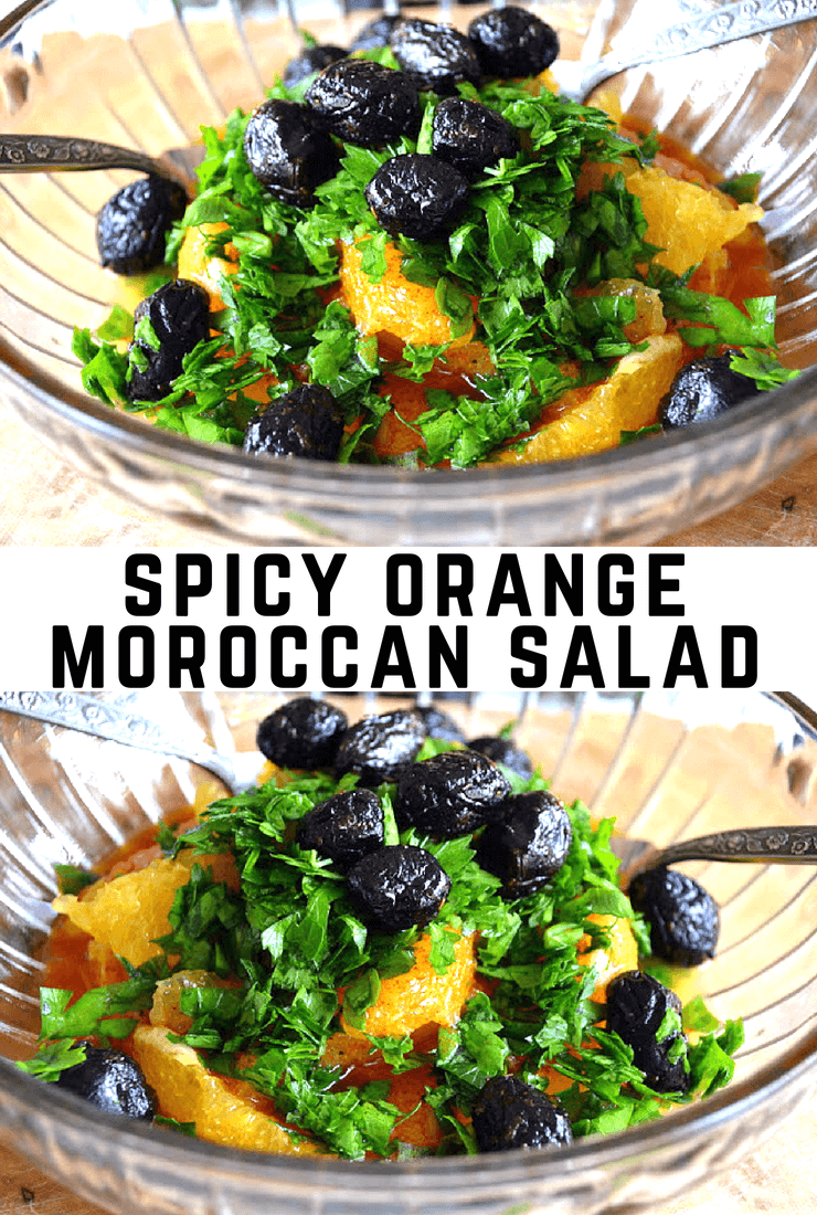 Spicy Orange Moroccan Salad ~ With fresh juicy oranges paired with earthy oil cured olives, tons of fresh parsley and a burst of cayenne, this unusual Middle Eastern citrus salad will blow you away. #salad #citrussalad #oranges #moroccan #sidedish @northafrican #olives #paleo #whole30 #glutenfree #weightwatchers #lowcarb #fruitsalad