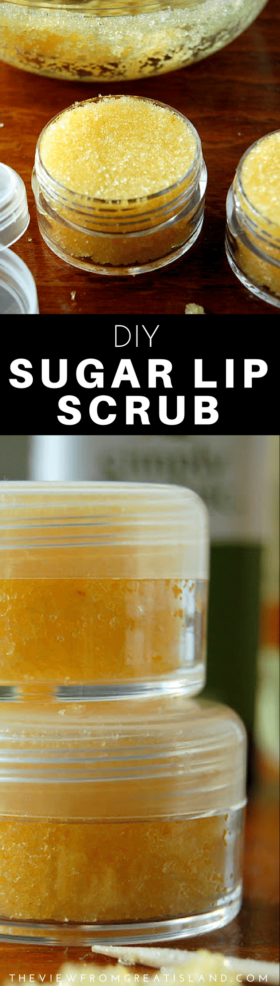 Skip the beauty aisle and make your own Homemade Lip Scrub with all natural sugar and almond oil ~ it works and it tastes great, too! #diylibscrub #homemadelipscrub #lipscrub #sugarlipscrub #diybeauty #beauty #skincare #sugarlipscrubrecipe #gifts