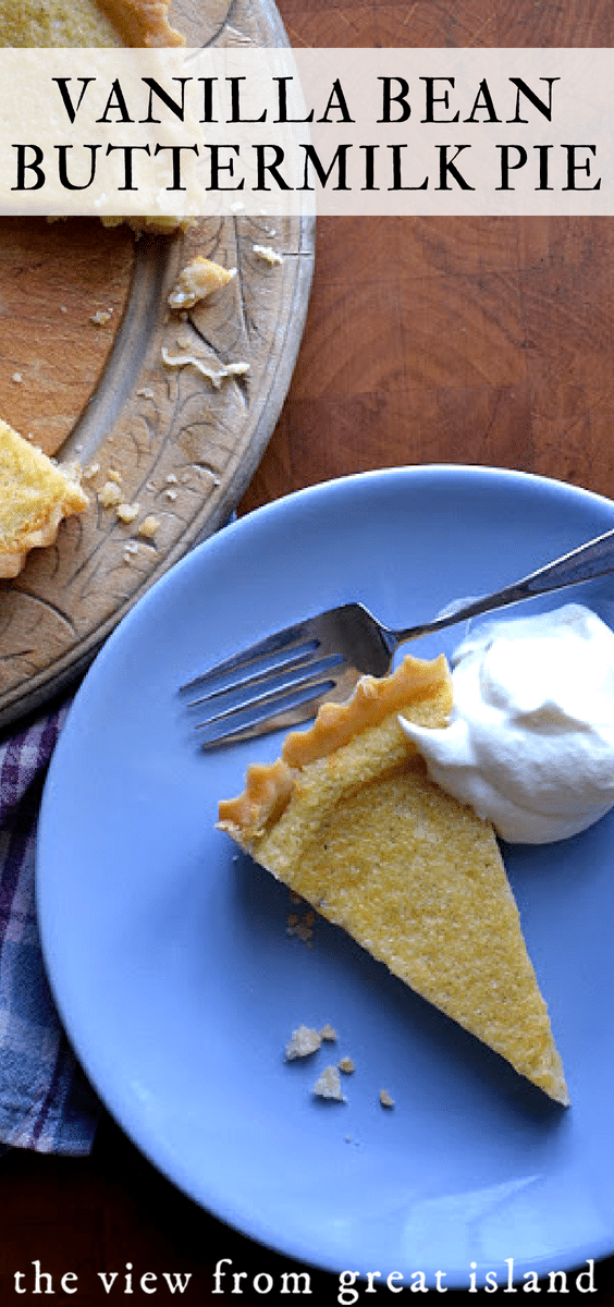 Vanilla Bean Buttermilk Pie ~ this vintage style custard pie is simple but utterly delicious. It's the perfect light ending to a big meal. #pie #tart #cream #easy #recipe #holiday #dessert #custard #amish #creampie
