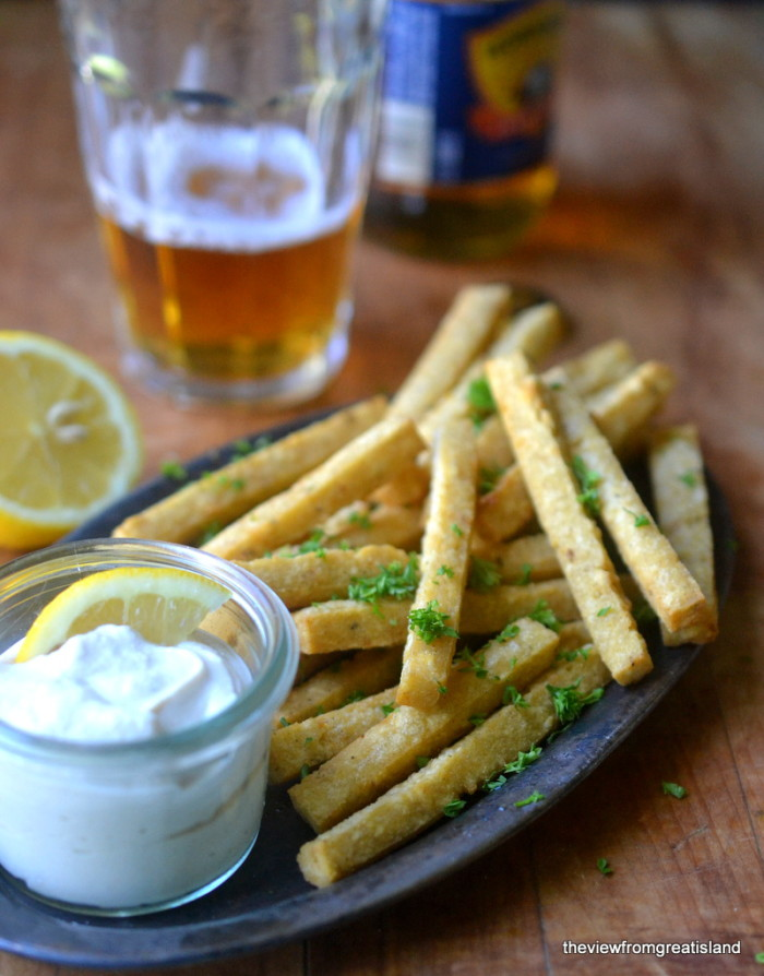 Chickpea Fries with Tahini Yogurt Dip 5