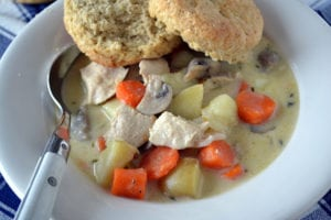 Chicken Stew with Honey Whole Wheat Biscuits