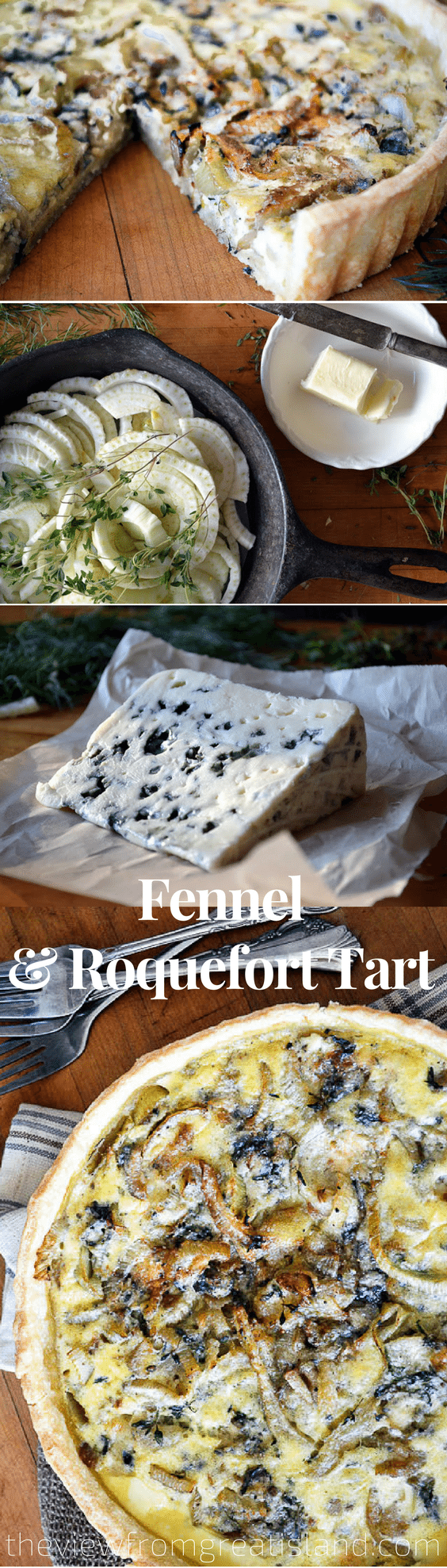 Fennel and Roquefort Tart is an elegant appetizer or light meal richly flavored with creamy Roquefort cheese and fennel, from the doyenne of French cooking, Anne Willan. #quiche #lunch #brunch #bluecheese #onionquiche #savorytart #pie #piecrust #frenchtart #eggs #appetizer #quicherecipe