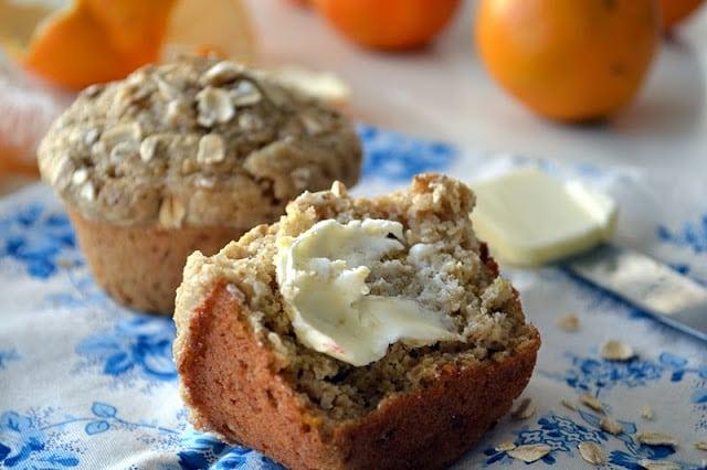 Orange Oat Bran Muffins, split with butter