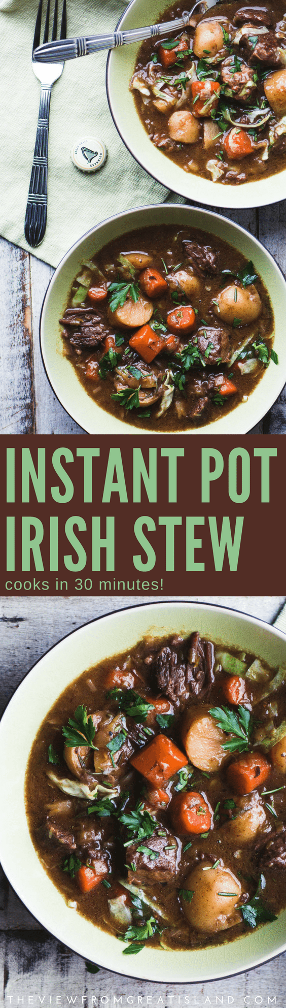 Instant Pot Irish Stew is the real deal, a classic rich stew made with lamb, potatoes, root veggies, cabbage, and, of course, a good dose of Guinnesss. Only instead of simmering long hours on the stove, this stew cooks in just 30 minutes! #Instantpot #slowcooker #crockpot #stew #irishstew #stpatricksday #lambstew #lamb #beef #beefstew