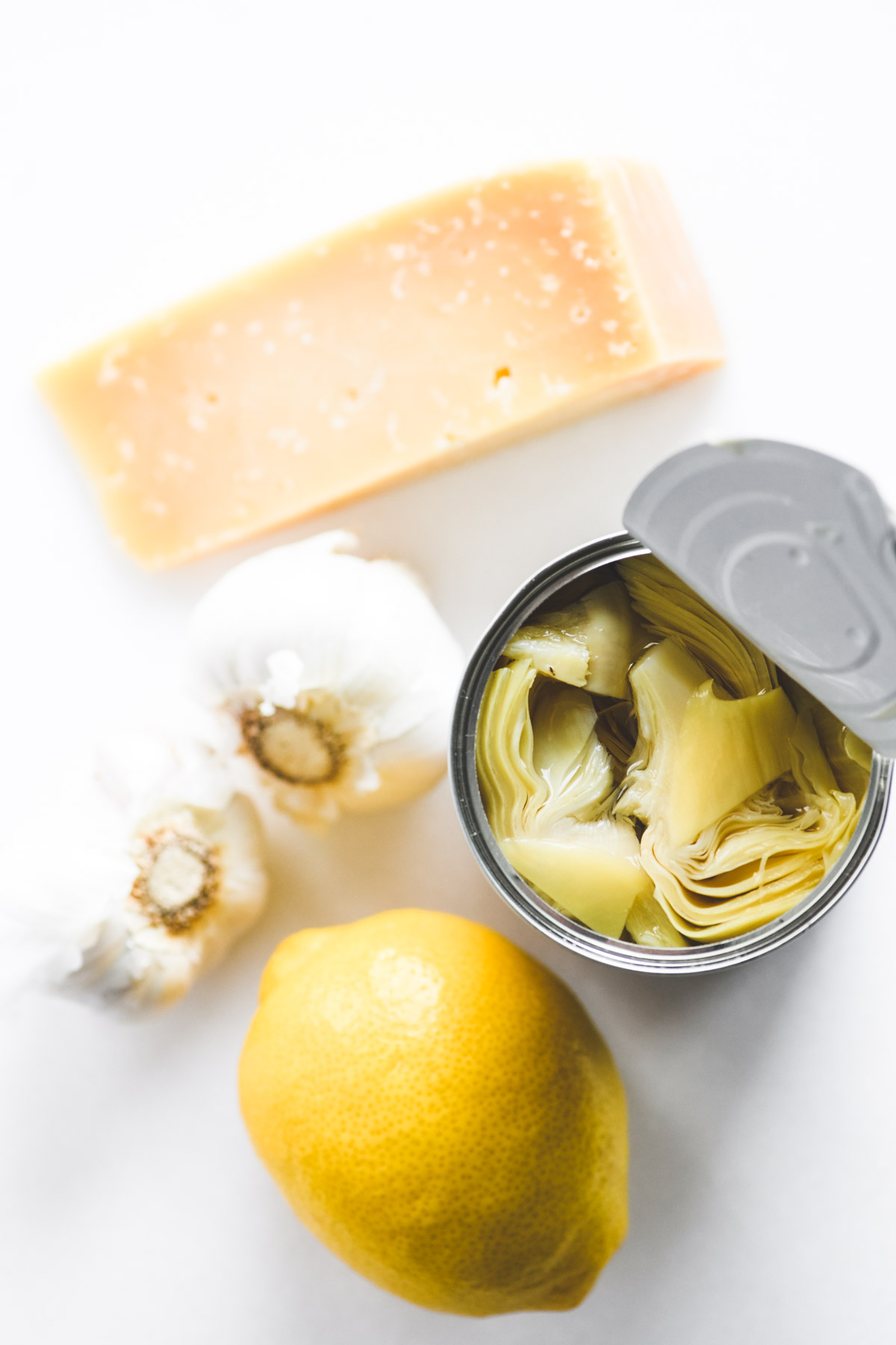 ingredients for lemon artichoke pesto