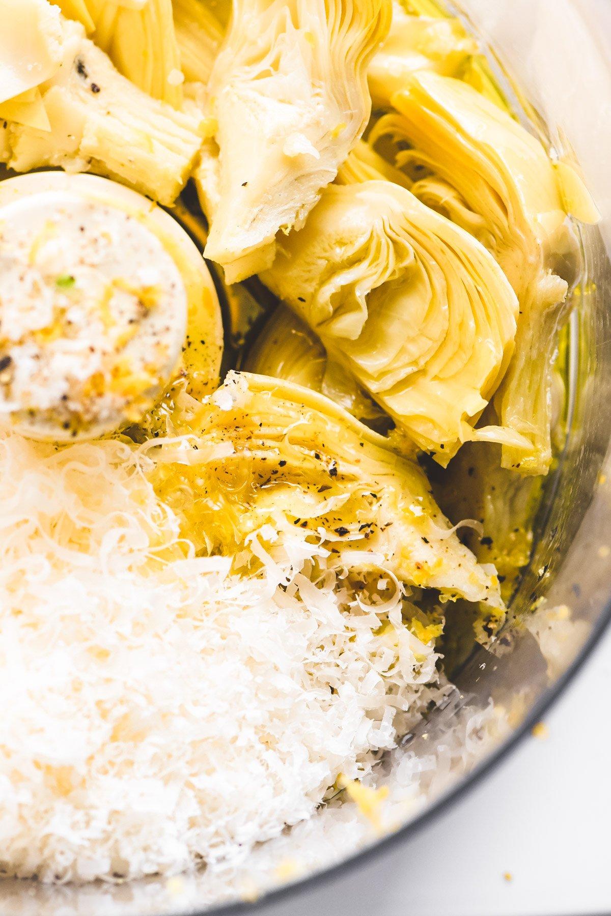 making artichoke lemon pesto in a food processor