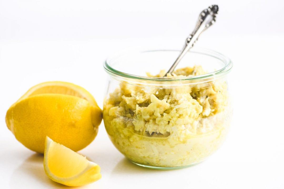 a jar of homemade artichoke lemon pesto