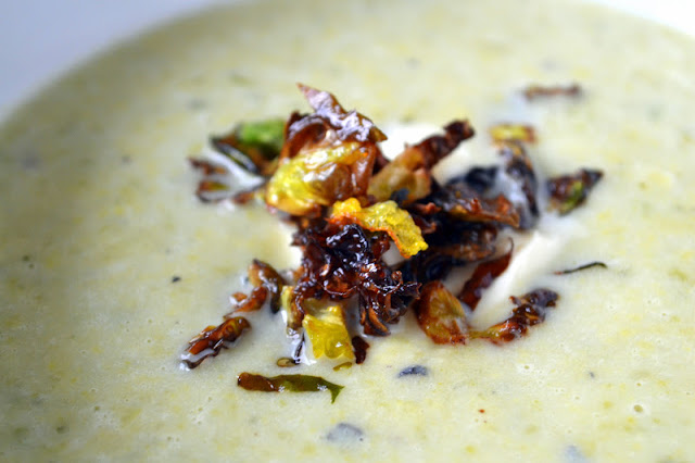Soupe Flamande with Creme Fraiche and Frizzled Brussels Sprouts