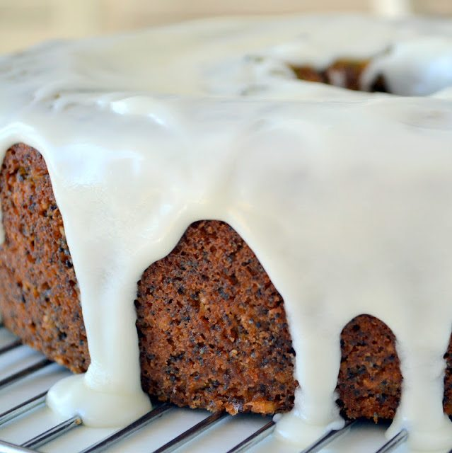 almond poppy seed cake with glaze