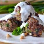 Photo of Lebanese Meatballs on a white plate.