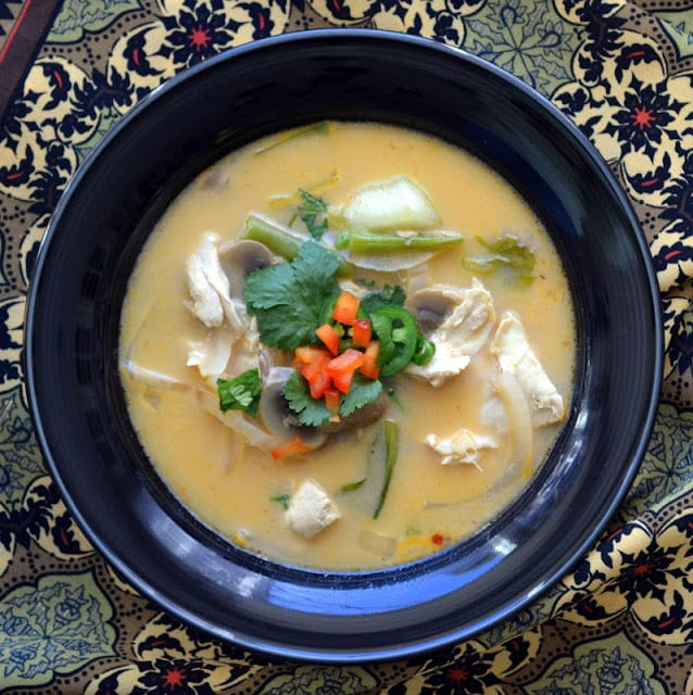 Thai Coconut Soup in a black bowl