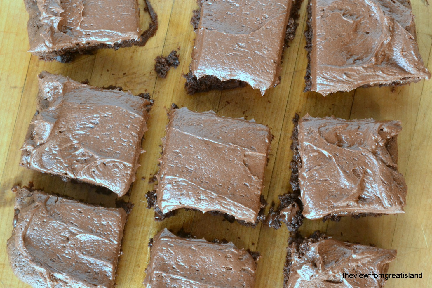 Chocolate Fudge Brownies with Chocolate Buttercream, cut into squares