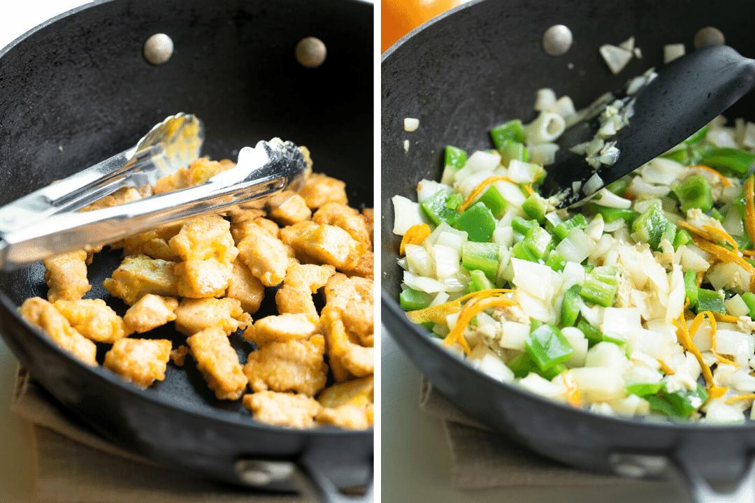 making tangerine chicken in a wok