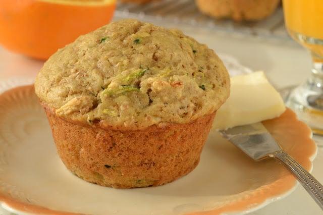 Zucchini Walnut Bran Muffins