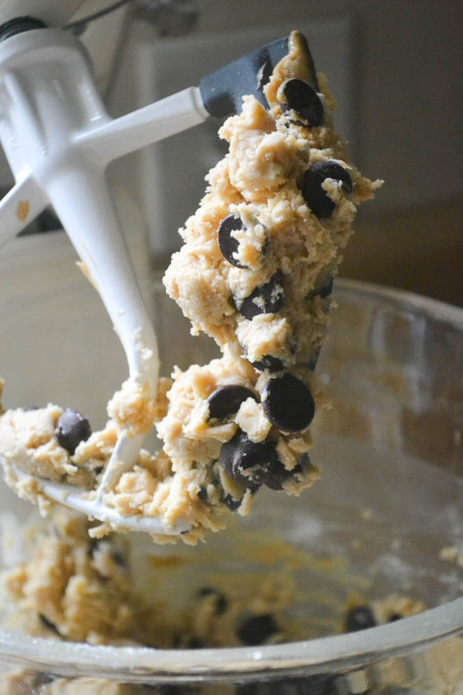 Chocolate Chip Peanut Butter Shortbread cookie dough is simple to make!