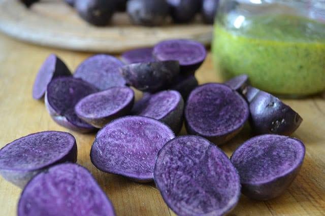 Purple potatoes for Roasted Purple Potatoes with pesto