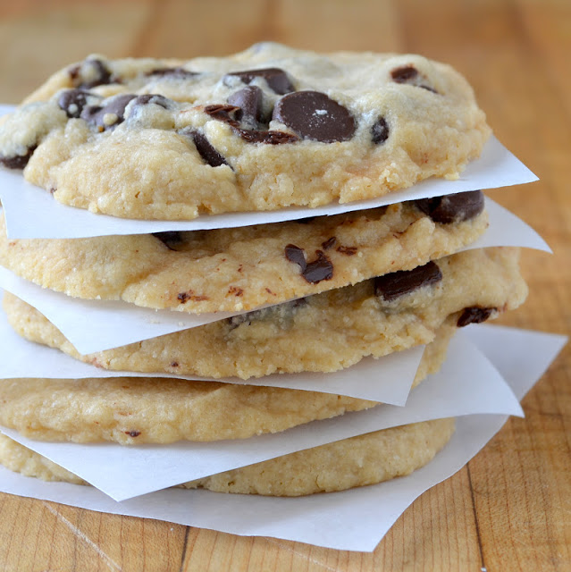 a stack of coffee chocolate chip cookies