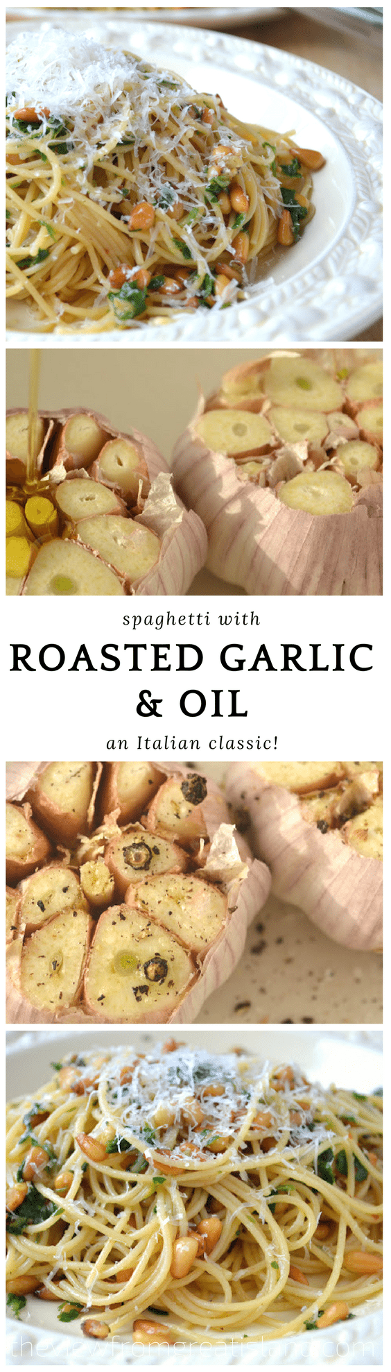 Spaghetti with Roasted Garlic and Oil is a classic Italian 30 minute meal that is healthy, full of flavor, and so satisfying. Roasting the garlic reduces its bite, so you can add as much as you like! #pasta #italian #vegetarian #30minutemeal #dinner #garlic #roastedgarlic #easypasta #familydinner #comfortfood