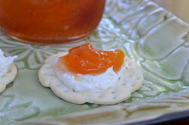 Habanero peach jam on a cracker