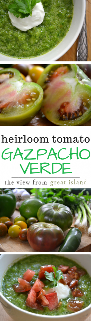Gazpacho Verde ~ this healthy chilled soup is made with vibrant green heirloom tomatoes for a delicious variation on the Spanish classic. | soup | summer | heirloom tomatoes |