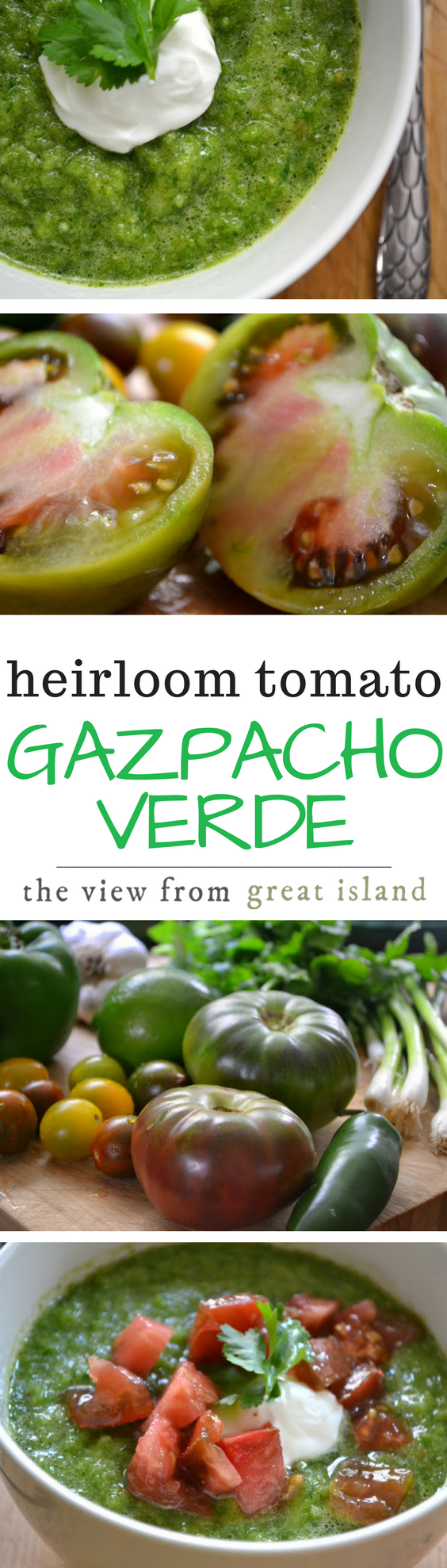 Gazpacho Verde ~ this healthy chilled soup is made with vibrant green heirloom tomatoes for a delicious variation on the Spanish classic. #soup #chilledsoup #spanish #tomatosoup #greentomatoes #healthy #easy #coldsoup #glutenfree #weightwatchers #lowcalorie