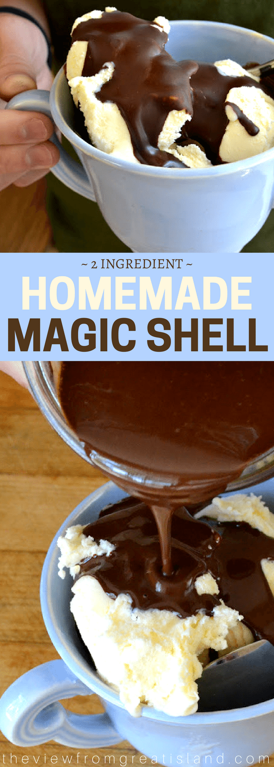 How to Make Homemade Magic Shell ~ this easy sauce will transform any ice cream in your freezer into the most magical dessert ever! #magicshell #icecream #diy #chocolate #icecreamtopping #dessert #sundae #chocolatesauce