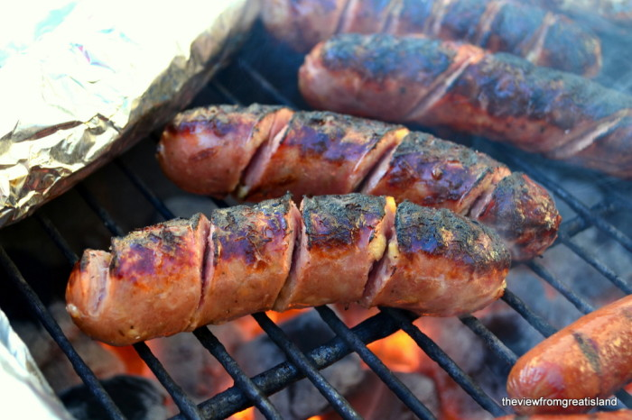 spiral cut grilled sausage