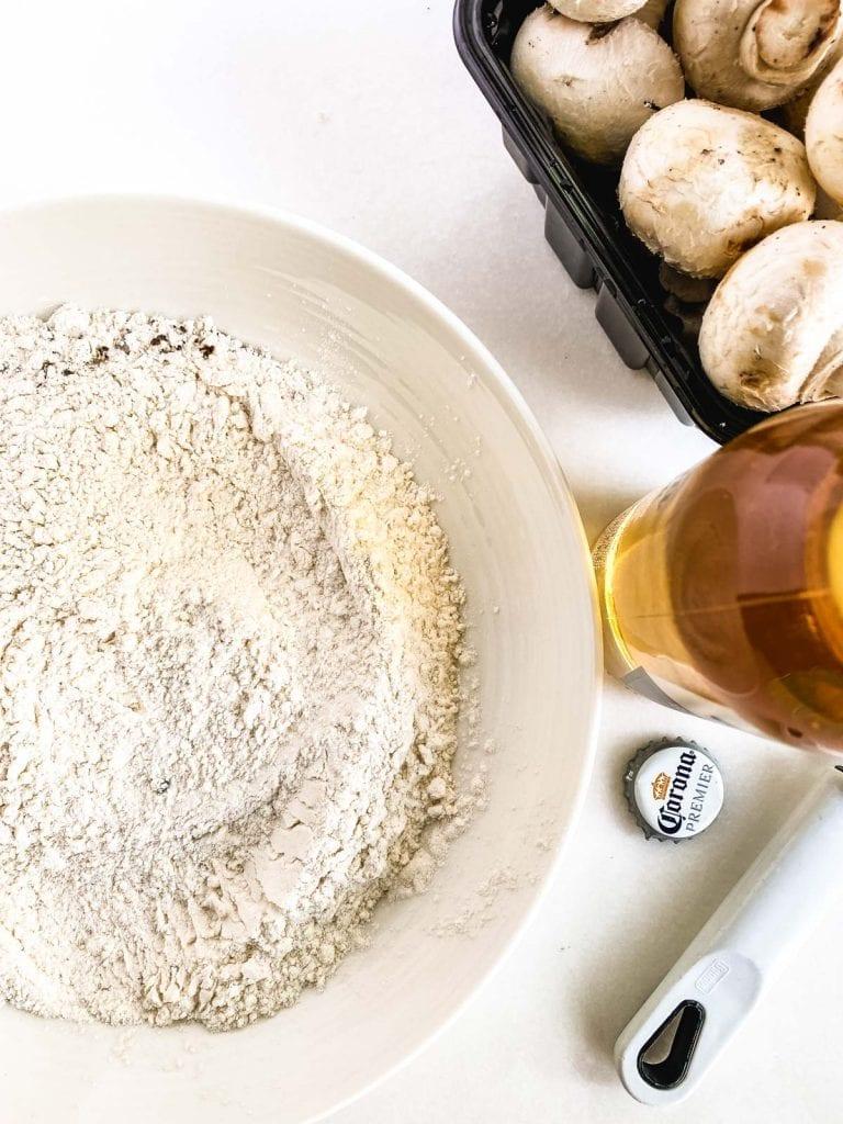ingredients for beer battered fried mushrooms
