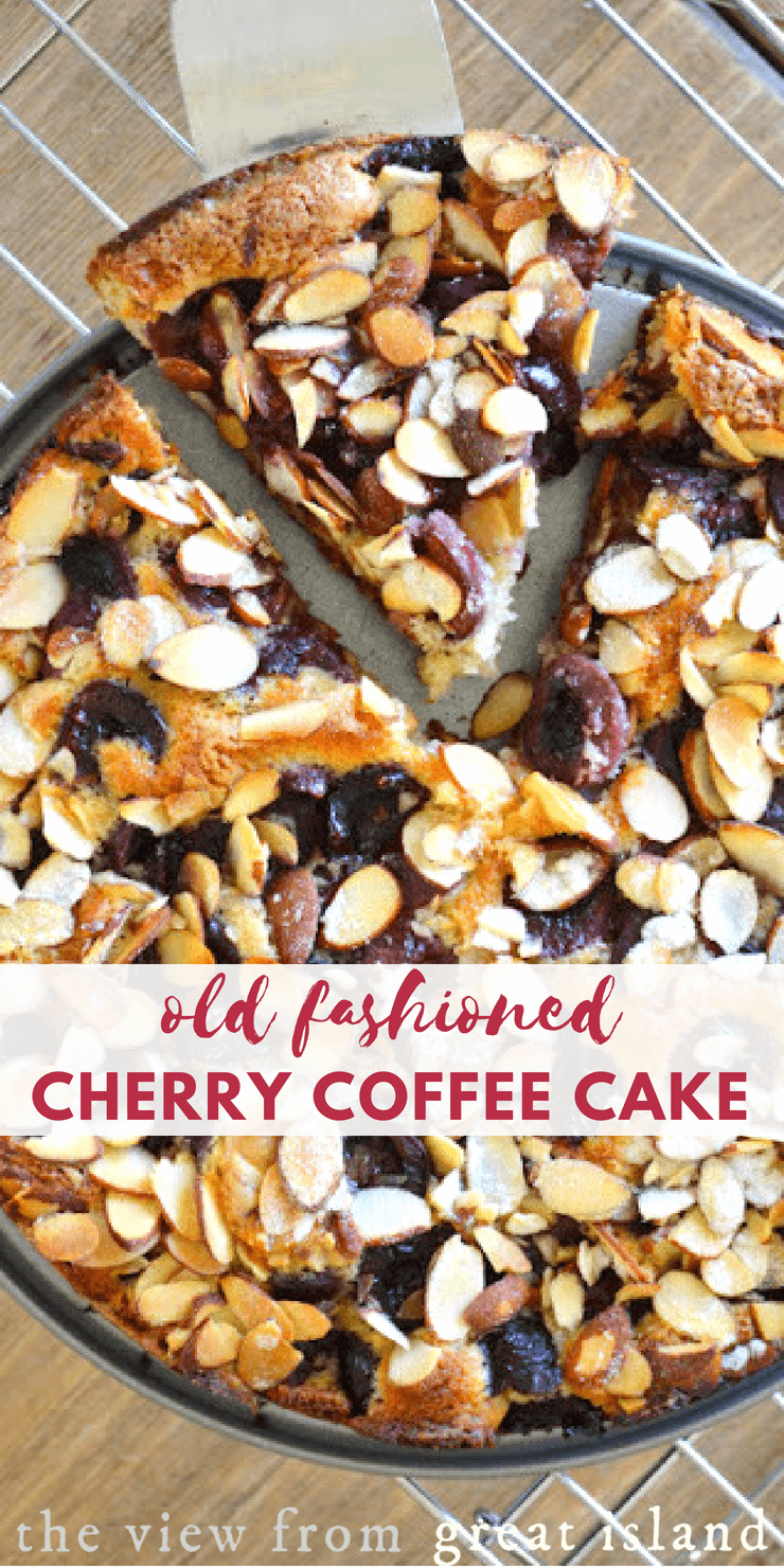 Old Fashioned Cherry Coffee Cake ~ a fresh cherry packed cake for breakfast, coffee take, or afternoon tea! #cake #coffeecake #breakfast #brunch #cherries #almonds #dessert #homemade #afternoontea