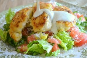 THIS Lemon Chicken with Buttermilk Dressing is one of my most requested recipes ~ the tender crispy chicken on top of a fresh salad and drenched in creamy buttermilk dressing is hard to beat!