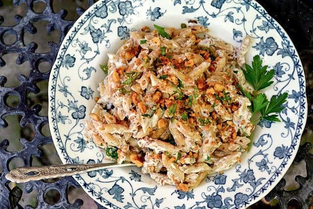 Italian pasta with a creamy walnut sauce