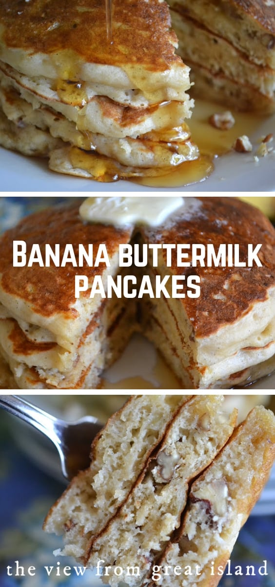 Banana Buttermilk Pancakes (with pecans and vanilla bean) have to be the ultimate in weekend morning luxury...make up a stack of these fluffy banana pancakes and wait for the sleepyheads to appear! #recipe #homemade #buttermilk #easy #best #breakfast #banana #pecans