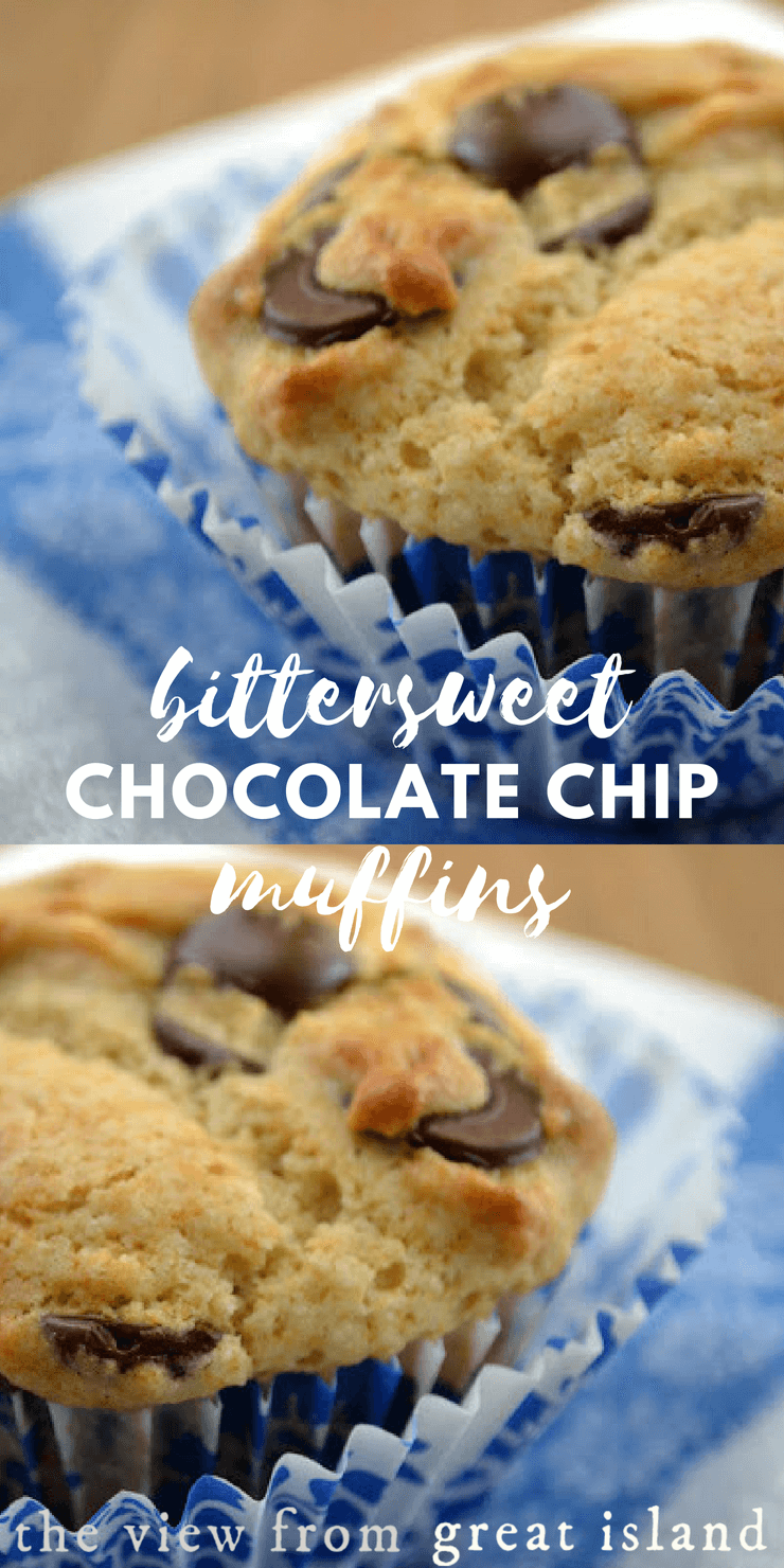 Bittersweet Chocolate Chip Muffins ~ these easy whole grain muffins make breakfast or after school snacking a whole lot healtheir, and more fun! #breakfast #afterschool #snack #healthysnack #wholegrain #oatflour #chocolatechip #chocolate #recipe #homemade #kids #dessert