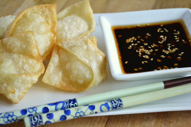 Goat cheese wontons with dipping sauce