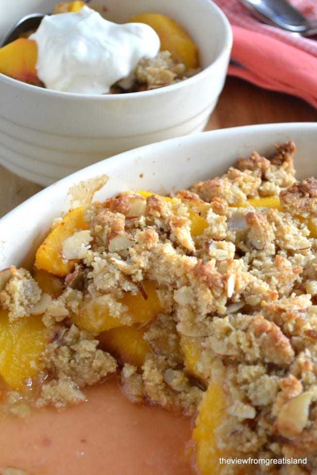 Gluten Free Peach and Almond Crisp ~ theviewfromgreatisland.com
