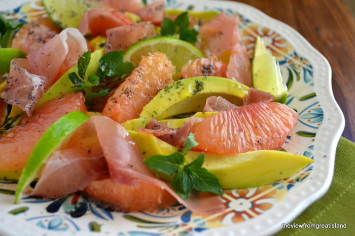 Avocados with Prosciutto, Red Grapefruit and Lime