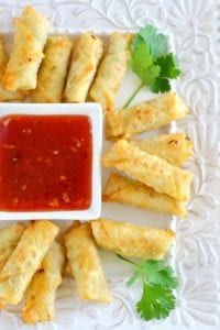 mini shrimp rolls with homemade plum sauce